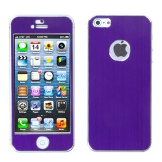 INSTEN Purple/ Brushed Metal Shield Phone Case for Apple iPhone 5/ 5S/ SE