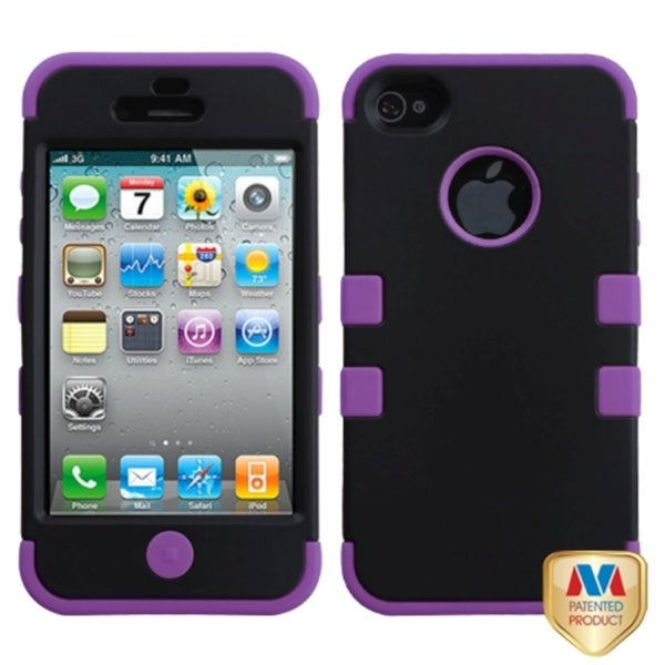 INSTEN Black/ Electric Purple TUFF Phone Case Cover for AppleiPhone 4/ 4S