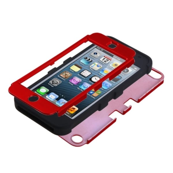 Insten Red/ Black Tuff Hard PC/ Silicone Dual Layer Hybrid Rubberized Matte Case Cover For Apple iPod Touch 5th/ 6th Gen
