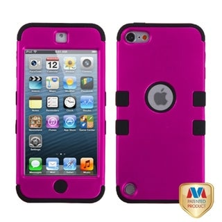 Insten Hot Pink/ Black Tuff Hard PC/ Silicone Dual Layer Hybrid Rubberized Matte Case Cover For Apple iPod Touch 5th/ 6th Gen