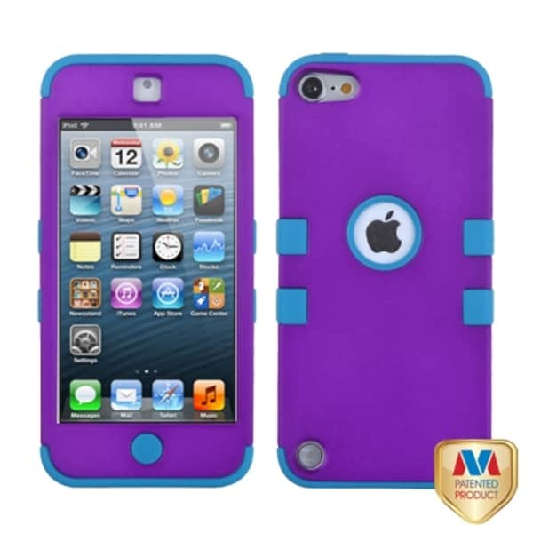 Insten Purple/ Light Blue Tuff Hard PC/ Silicone Hybrid Rubberized Matte Case Cover For Apple iPod Touch 5th/ 6th Gen
