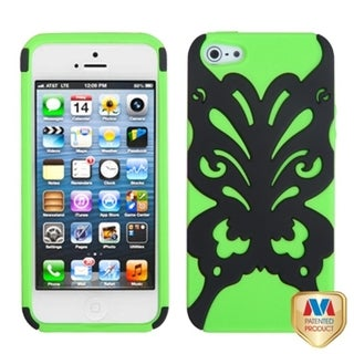 INSTEN Black/ Electric Green/ Butterflykiss Phone Case for Apple iPhone 5/ 5S/ SE