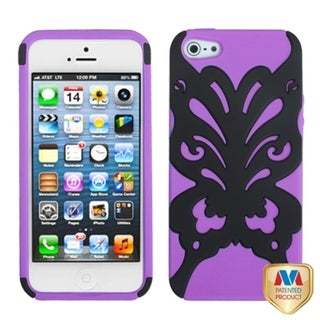 INSTEN Black/ Electric Purple/ Butterflykiss Phone Case for Apple iPhone 5/ 5S/ SE