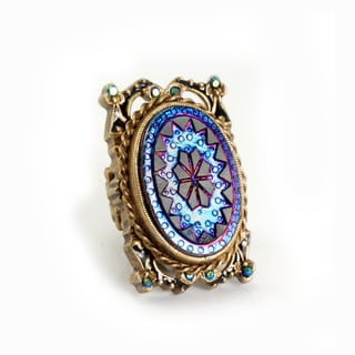 Sweet Romance Vintage Peacock Iridescent Old Glass Statement Ring