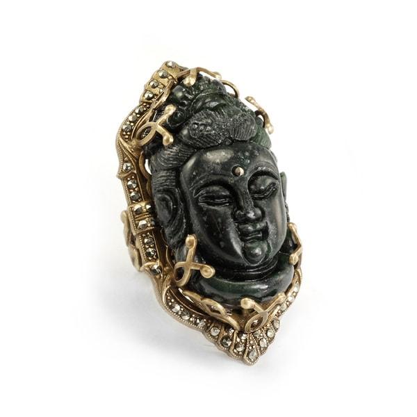 Sweet Romance Art Deco Hand Carved Black Buddha GuanYin Marcasite Ring