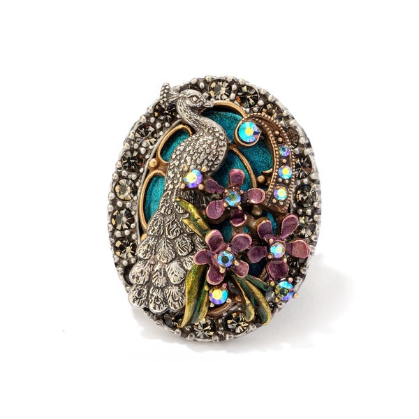 Sweet Romance Peacock Tiffany Windo Enamel Bird Ring