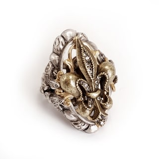 Sweet Romance French Fleur De Lis Silver And Bronze Ring
