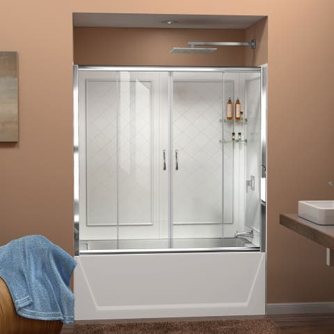 """DreamLine Visions 56-60 in. W x 60 in. H Sliding Tub Door and Acrylic Backwall Kit - 28"""" - 32"""" x 56"""" - 60"""""""