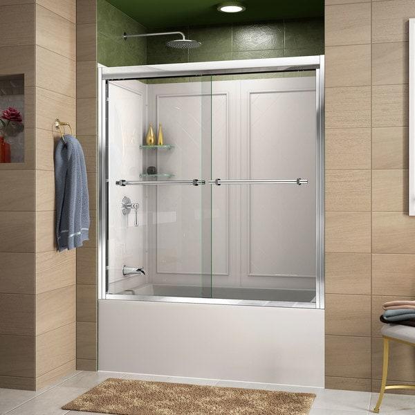 DreamLine Duet 56 to 59 Frameless Bypass Sliding Tub Door and QWALL-Tub Backwall Kit