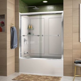 DreamLine Duet 55-59 in. W x 28-32 in. D x 60 in. H Sliding Bypass Tub Door and QWALL-Tub Acrylic Backwall Kit