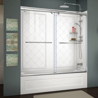 DreamLine Charisma 56 to 60-inch Frameless Bypass Sliding Tub Door, and QWALL-Tub Backwall Kit