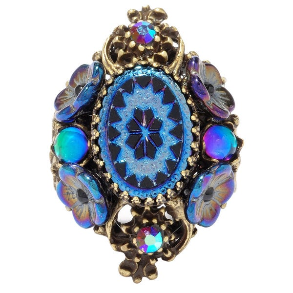 Sweet Romance Vintage Peacock Glass Flower Iridescent Purple Statement Ring