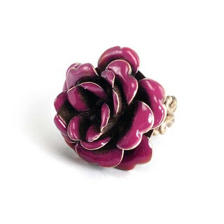 Sweet Romance Bronzetone Plum Enamel Rose Ring