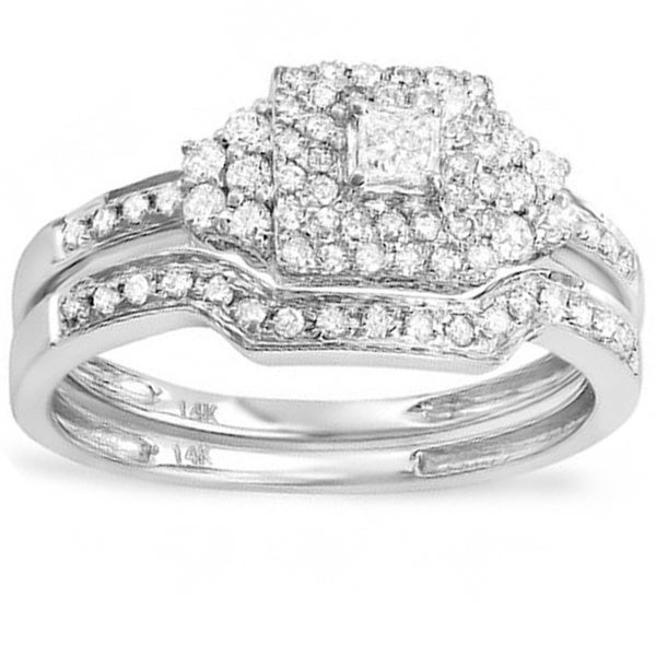 Elora 14k White Gold 1/2ct TDW Diamond Bridal Ring Set (H-I, I1-I2)