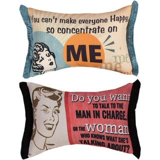 Retro Collection Man in Charge of the World Reversible Decorative Pillows (Set of 2)