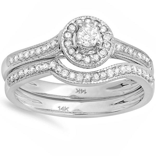 14k White Gold 2/5ct TDW Diamond Halo Bridal Ring Set (H-I, I1-I2)
