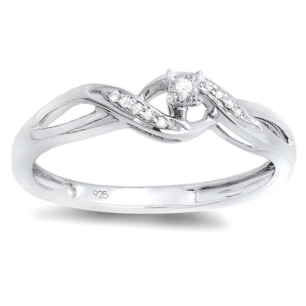 Elora Sterling Silver Round-cut Diamond Accents Twist Promise Ring