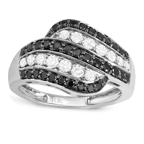 10k White Gold 1ct TDW Black and White Diamond Stripe Ring