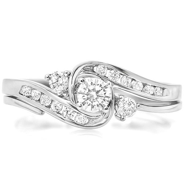 Elora 10k White Gold 1/2ct TDW Round-cut Diamond Swirl Bridal Set