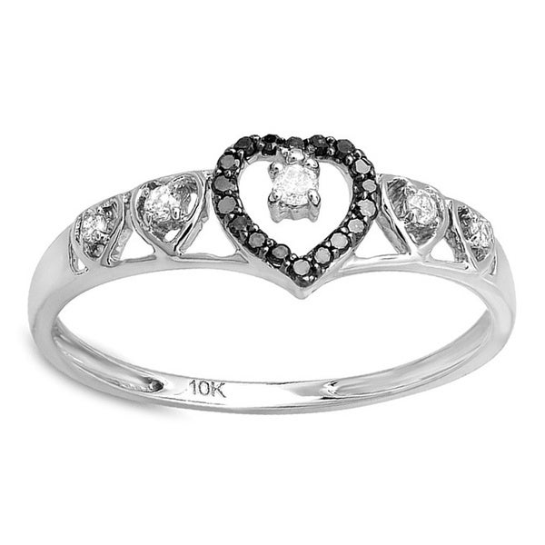 10K White Gold 1/5ct TDW Black Diamond Wave Heart Ring