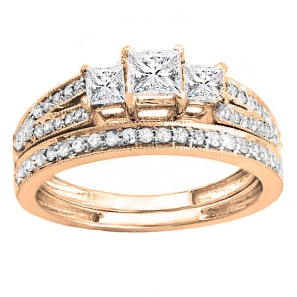 14k White Gold 1ct TDW 3-Stone Diamond Bridal Ring Set (H-I, I1-I2)