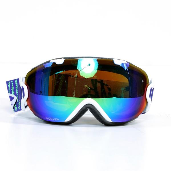 Smith I/OS Vaporator Goggles in White Strobe with Green Sol-X Mirror Lenses
