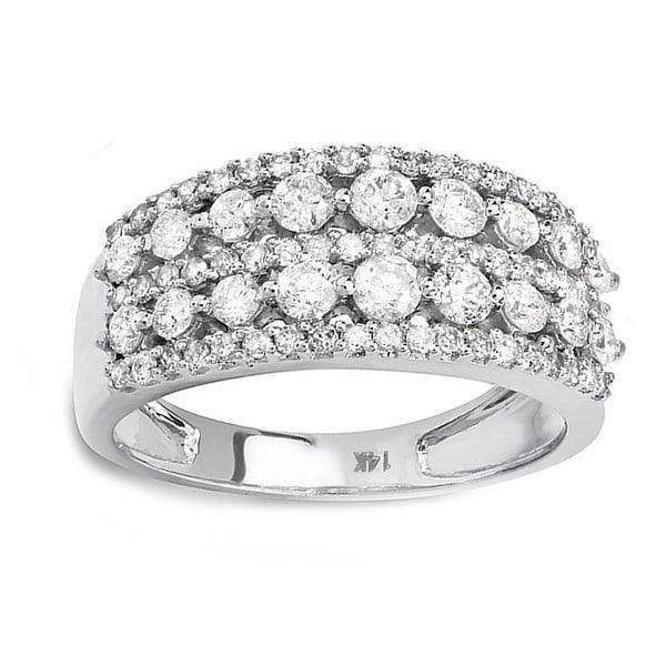 Elora 14k White Gold 1 1/6ct TDW Diamond Pave Ring