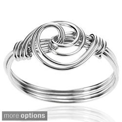 Journee Collection Sterling Silver Handmade Swirl Knot Wire Ring