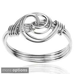 Journee Collection Sterling Silver Handcrafted Swirl Knot Ring