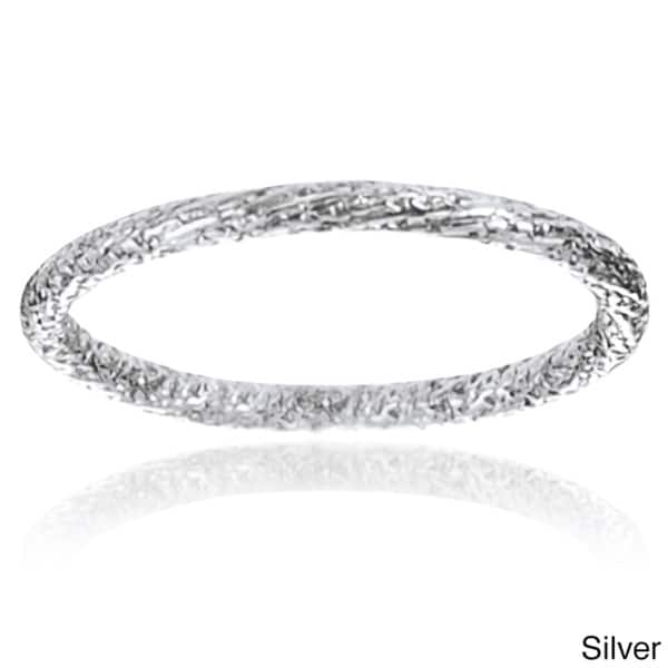 Journee Collection Sterling Silver Handmade 1.5 mm Stipple Band