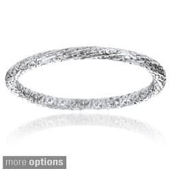 Journee Collection Sterling Silver Handcrafted Stipple Band