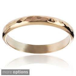 Journee Collection Highly Polished Sterling Silver Handcrafted Hammered Band