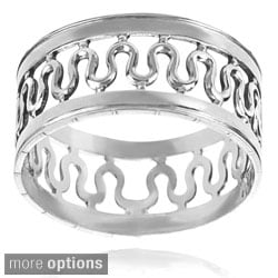 Journee Collection Sterling Silver Handcrafted Center Wave Band