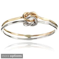 Journee Collection Sterling Silver Handcrafted Love Knot Double Band