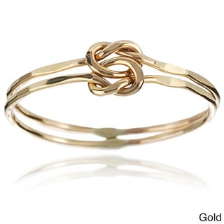 Journee Collection Sterling Silver Handmade Hammered Double Band Love Knot Ring