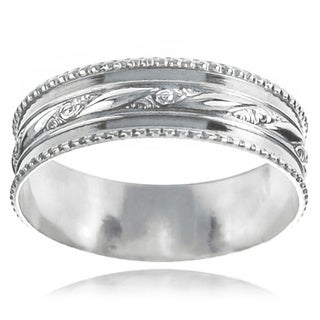 Journee Collection Sterling Silver Handcrafted Textured Milgrain Band