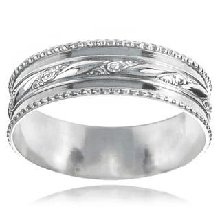 Journee Collection Sterling Silver Handcrafted Textured Milgrain Band|https://ak1.ostkcdn.com/images/products/8252509/P15578402.jpg?impolicy=medium