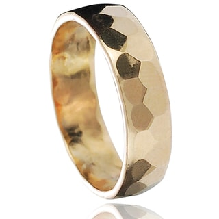 Journee Collection Goldtone Sterling Silver Handcrafted Hammered Band