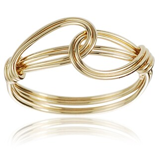 Journee Collection Goldtone Silver Handcrafted Overlapping Knot Ring