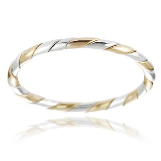 Journee Collection Two-tone Sterling Silver Handcrafted Twisted Band