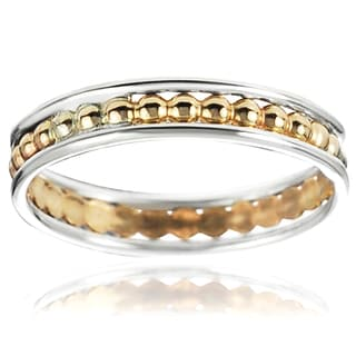 Journee Collection Two-tone Sterling Silver Handcrafted Textured Band