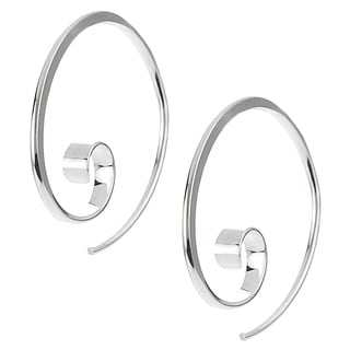 Journee Collection Sterling Silver Handcrafted Swirl Ear Pin Earrings