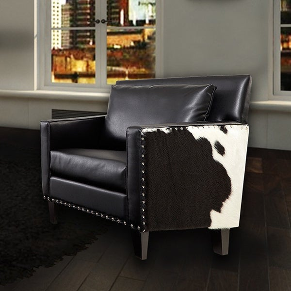 Shop Dallas Chair Black Leathr Real Cowhide Side Panels