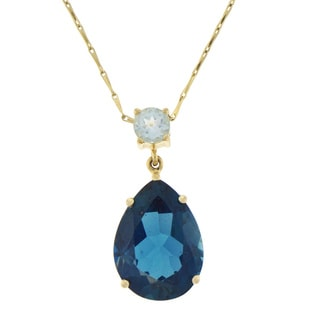 Beverly Hills Charm 14k Yellow Gold Swiss and London Blue Topaz Necklace