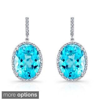 Sterling Silver Blue Topaz and 1/3ct TDW Diamond Earrings (J-K, I2-I3)