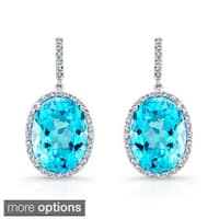 Sterling Silver Blue Topaz and 1/3ct TDW Diamond Earrings (J-K, I2-I3)