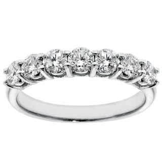 Platinum or White Gold 1.35ct TDW 7-Stone Round-cut Diamond Wedding Ring