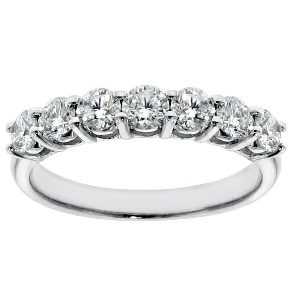 Platinum or White Gold 1.35ct TDW 7-Stone Round-cut Diamond Wedding Ring
