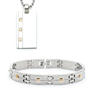 Stainless Steel Screwhead Bracelet and Necklace Set