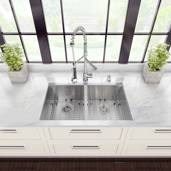 Vigo All-in-One 32-inch Undermount Double Bowl Kitchen Sink and Faucet Set
